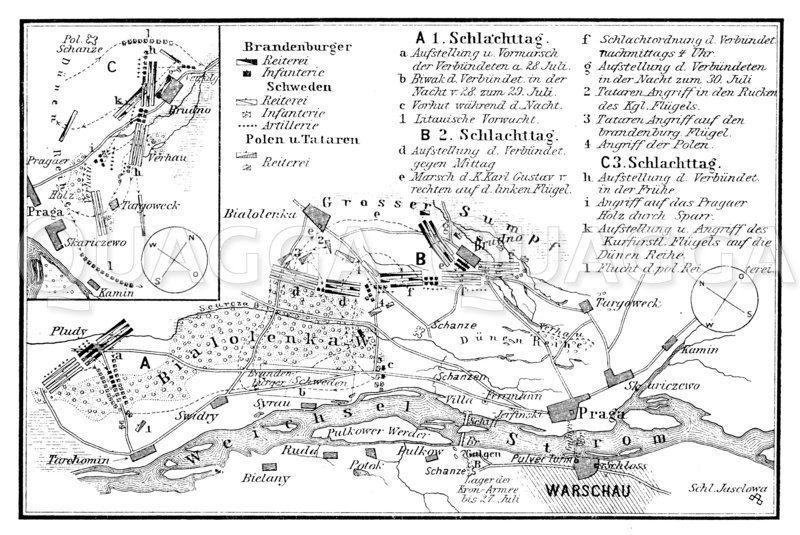 Plan zur dreitägigen Schlacht bei Warschau
