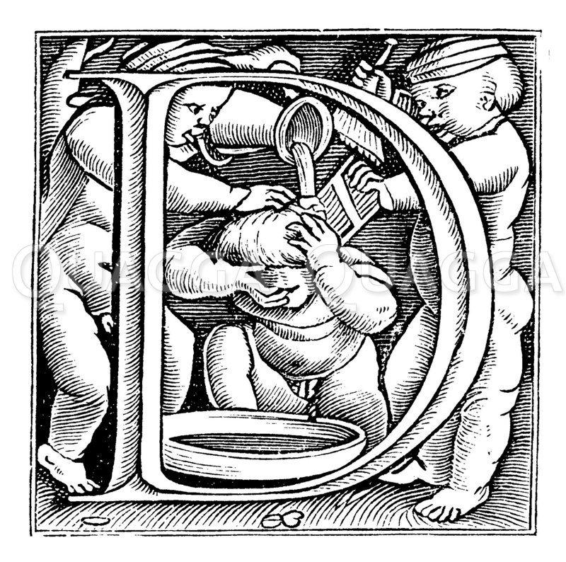 Initale D aus Hans Holbeins Kinderalphabet Zeichnung/Illustration