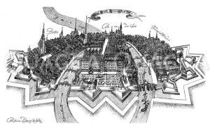 Berlin im 17. Jahrhundert. Nach einer Federzeichnung von Christian Ludwig Kaulitz