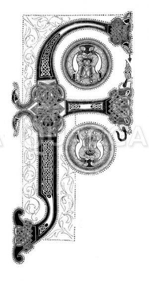 Initialbuchstabe F aus einer Bibel Karls des Großen