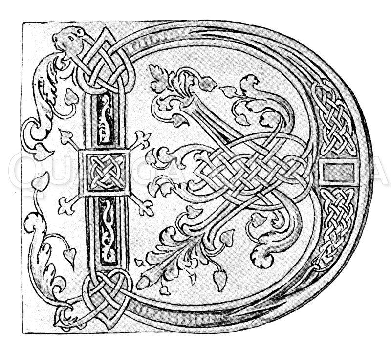 Initale D aus dem Goldenen Psalter Zeichnung/Illustration