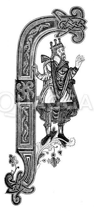 Initale F aus des Goldenen Psalter Zeichnung/Illustration