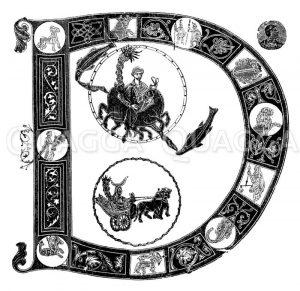 Karolingische Initiale D Zeichnung/Illustration