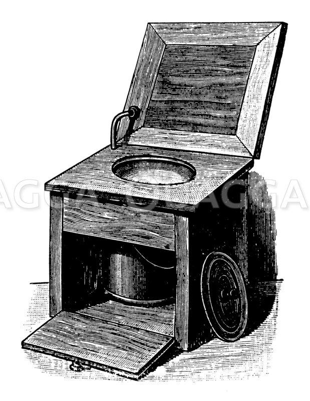 Geruchloses Klosett für Krankenzimmer mit sebsttätiger Wasserspülung Zeichnung/Illustration