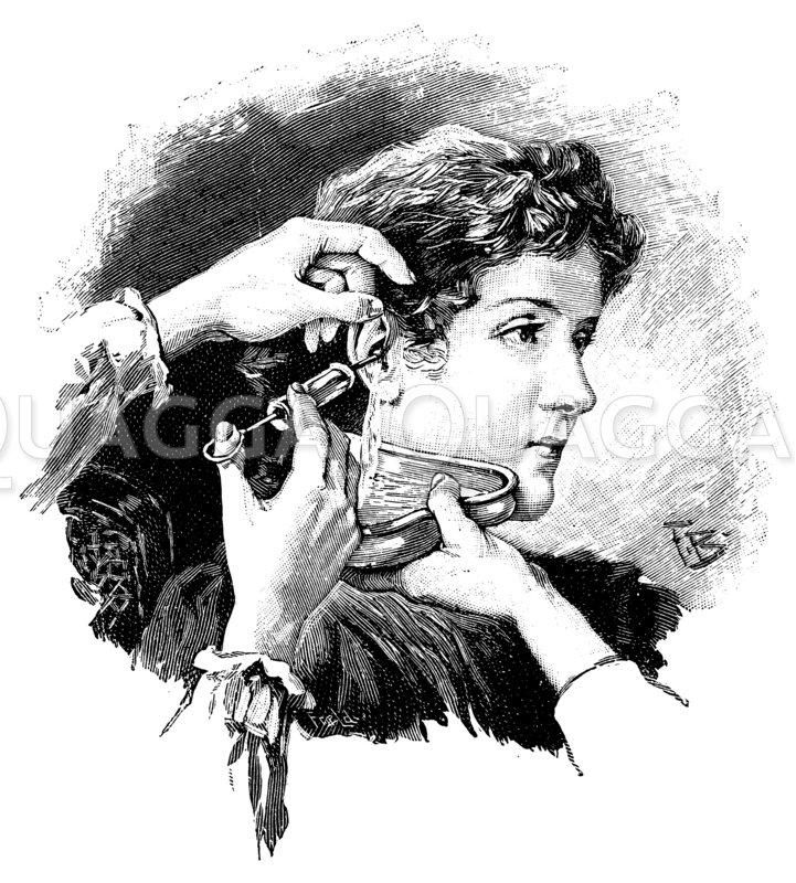 Anwendung der Ohrspritze Zeichnung/Illustration
