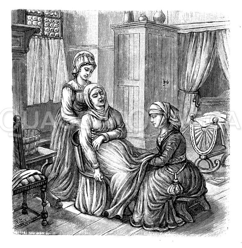 Niederkunft auf dem Geburtstuhl Zeichnung/Illustration