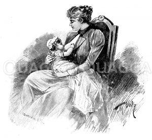 Unrichtige Lage des Kindes beim Stillen Zeichnung/Illustration