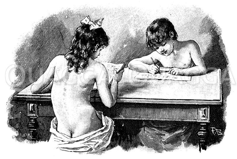 Schlechte Körperhaltung beim Lesen und Schreiben Zeichnung/Illustration
