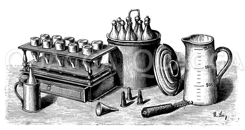 Verbesserter Sorhlet (Milch-Sterilisierer) Apparat. Nach Ollendorff-Milden Zeichnung/Illustration