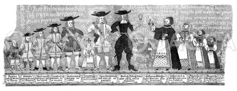 Kinderreiche Familie. Malerei auf einem     gläsernen Humpen der Familie Döbrich aus dem Jahre 1676 Zeichnung/Illustration
