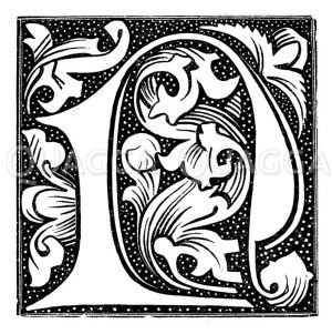 Inital N aus einem Pergamentdruck kurz nach Erfindung des Buchdrucks Zeichnung/Illustration
