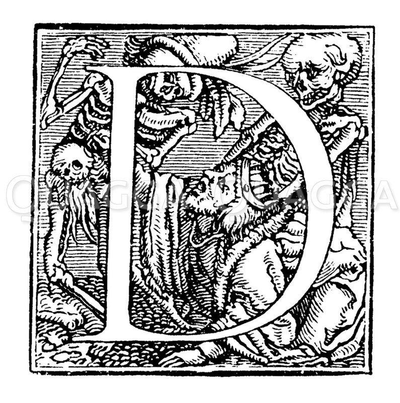 Buchstabe D aus Holbeins kleinerem Totentanzalphabet Zeichnung/Illustration