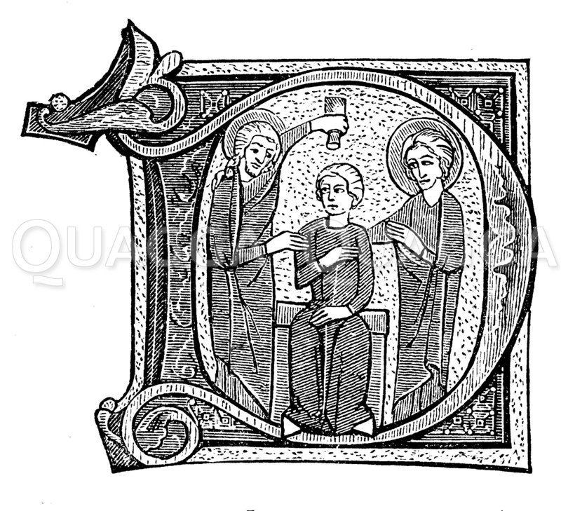 Initale D aus einem Psaltererium des 13. Jahrhunderts Zeichnung/Illustration