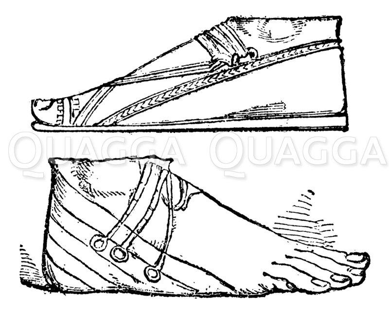 Assyrische Sandalen Zeichnung/Illustration