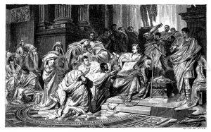 Die letzten Augenblicke Julius Cäsars Zeichnung/Illustration