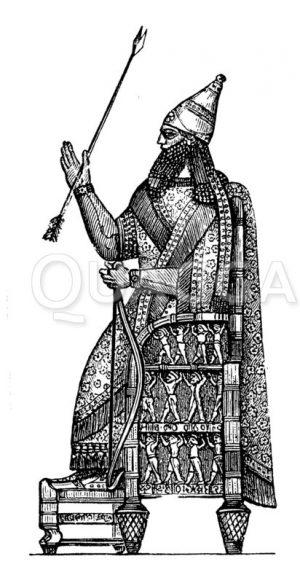 Thronender assyrischer König Zeichnung/Illustration