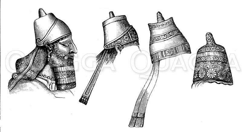 Kopf eines assyrischen Königs und königliche Kopfbedeckungen Zeichnung/Illustration