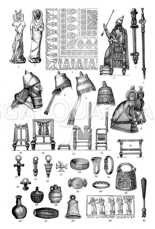 Babylonisch-assyrische Altertümer Zeichnung/Illustration