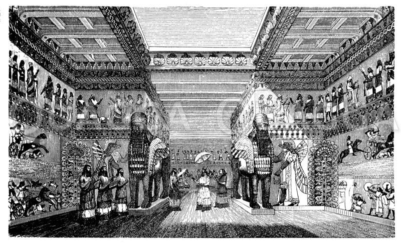 Festsaal im Palast zu Khorsabad Zeichnung/Illustration