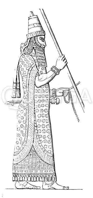 Herrschergestalt aus Khorsabad Zeichnung/Illustration