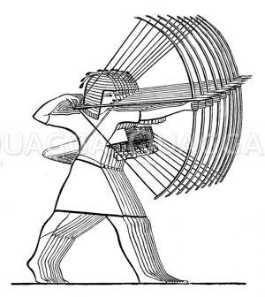 Ägyptische Bogenschützen. Altägyptische Darstellung Zeichnung/Illustration