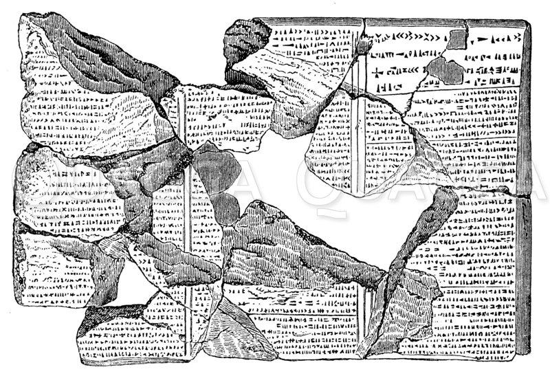 Tontafel mit Stücken der chaldäischen Flutsage Zeichnung/Illustration