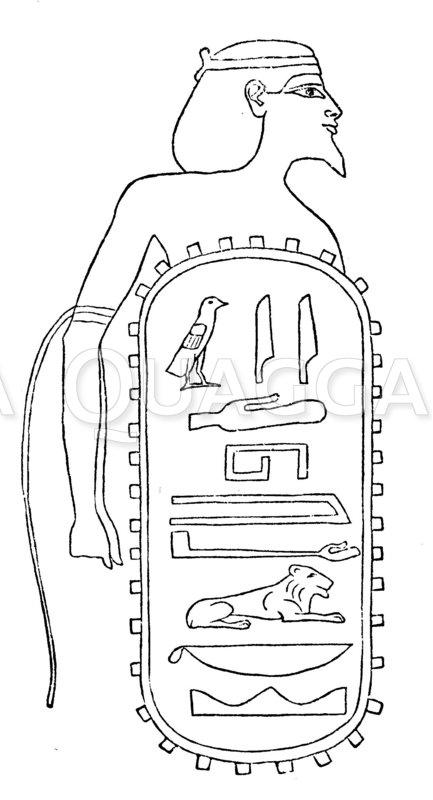 Judha-Mälek (das königliche Juda). Aus der Liste der von Sisak eroberten Städte. Vom Tempel zu Karnak Zeichnung/Illustration