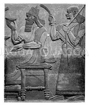 Assurnasirpal auf dem Thron. Relief aus Salach. Nach der Photographie des Originals im Britischen Museum zu London Zeichnung/Illustration