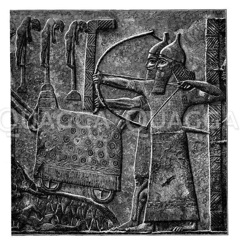 Tiglatpilesar stürmt eine Stadt. Darstellung von den Reliefplatten zur Verherrlichung des Königs vor seinem Palaste zu Ninive Zeichnung/Illustration