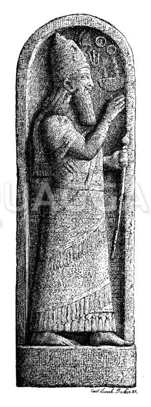 Denkstein des Königs Sargon mit seinem Bildnis und einer Keileinschrift