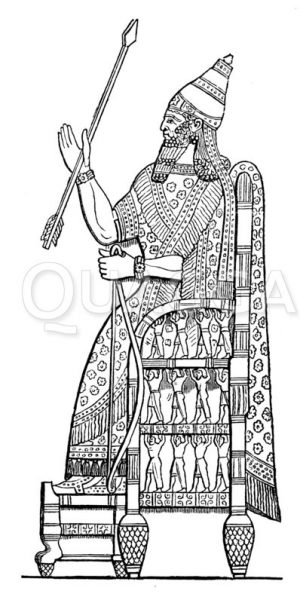 Sanherib auf dem Thron Zeichnung/Illustration