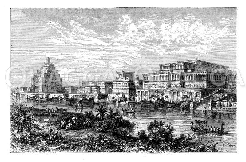 Assyrischer Königspalast zu Ninive Zeichnung/Illustration
