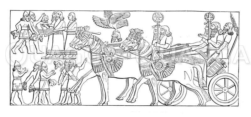 Triumphzug des Königs. Nach dem Relief von Assurbanipals Palast Zeichnung/Illustration