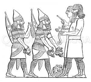 Assyrische Zählung der Erschlagenen Zeichnung/Illustration