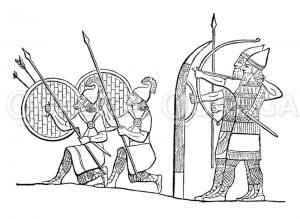 Assyrische Phalanx vor den Mauern einer belagerten Stadt Zeichnung/Illustration