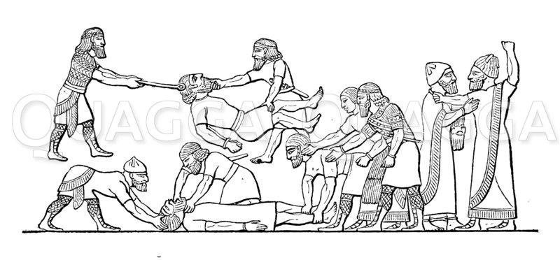 Marter der Kriegsgefangenen bei den Assyrern Zeichnung/Illustration