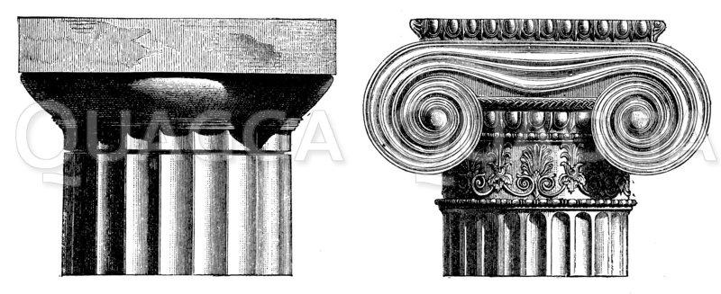 Dorisches und ionisches Kapitell Zeichnung/Illustration