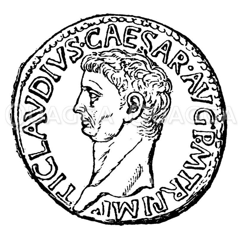 Claudius. Nach einer Münze im Berliner Münzkabinett Zeichnung/Illustration