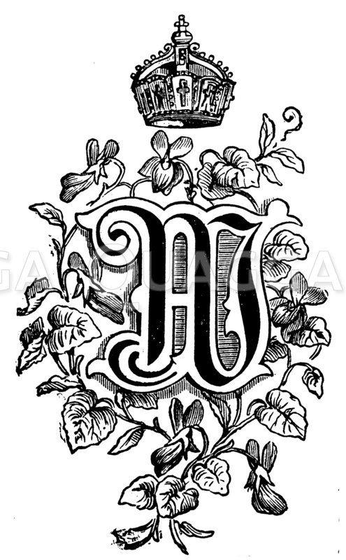 Buchstabe W mit Krone und Veilchen Zeichnung/Illustration