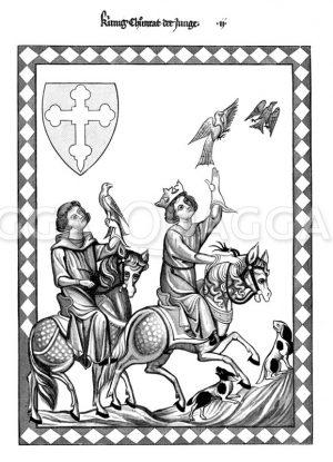 Konradin (Kunig Chuonrat der Junge) auf der Falkenjagd Zeichnung/Illustration