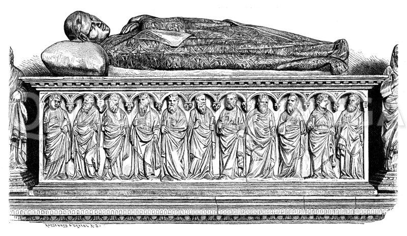 Marmorsarkophag Heinrichs VII. im Campo Santo zu Pisa Zeichnung/Illustration