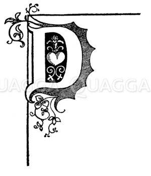 Buchstabe D mit Herzchen Zeichnung/Illustration