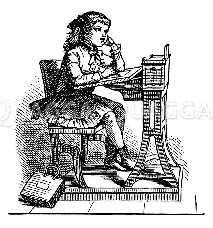 Mädchen auf der Schulbank Zeichnung/Illustration