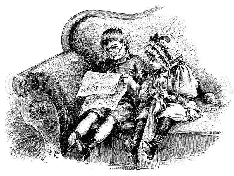 Kinder spielen ihre Großeltern Zeichnung/Illustration