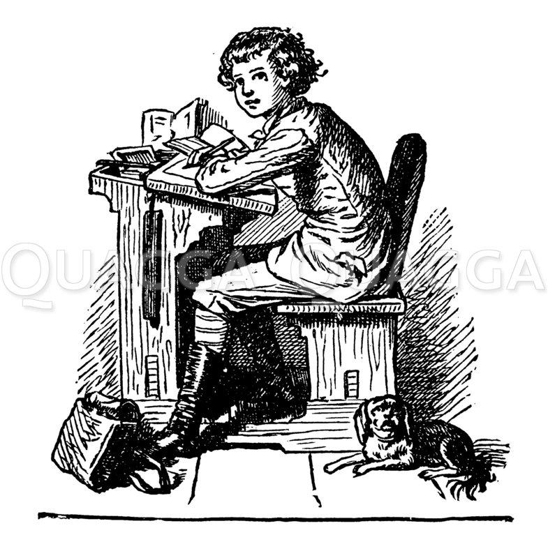 Junge auf der Schulbank Zeichnung/Illustration