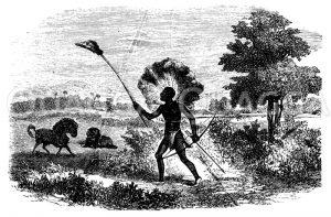 Buschmann auf der Gnu-Jagd Zeichnung/Illustration