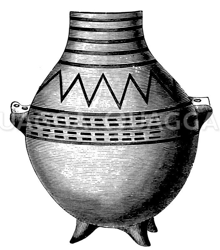 Tongefäß aus dem prähistorischen Troja Zeichnung/Illustration