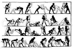 Ringerszenen. Teil eines Wandgemäldes in Beni Hasan Zeichnung/Illustration