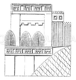 Neuassyrischer Palast mit Säulengalerien Zeichnung/Illustration