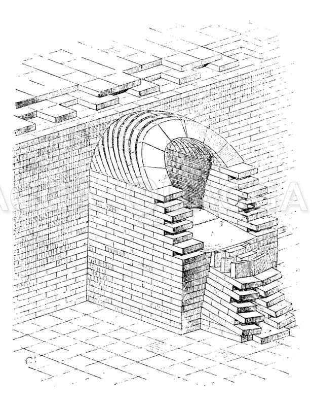 Gewölbter Abzugskanal in Khorsabad Zeichnung/Illustration